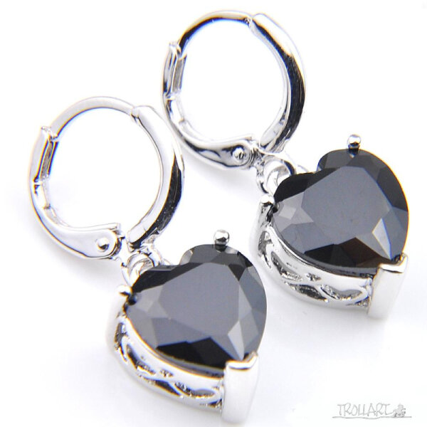 Ear Droppers, Onyx Hearts, Silver 925