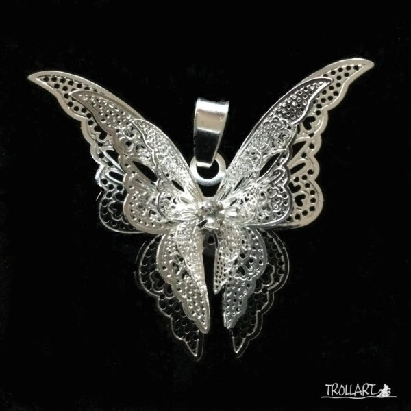Buttelfly Pendant, Silver plated, incl. Chain