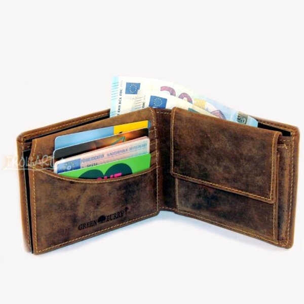 Two-piece bank note wallet, RFID, vintage style, leather