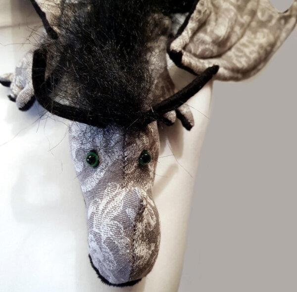 Shoulderdragon XXL, Sp.-E., flora gray, plushy crest