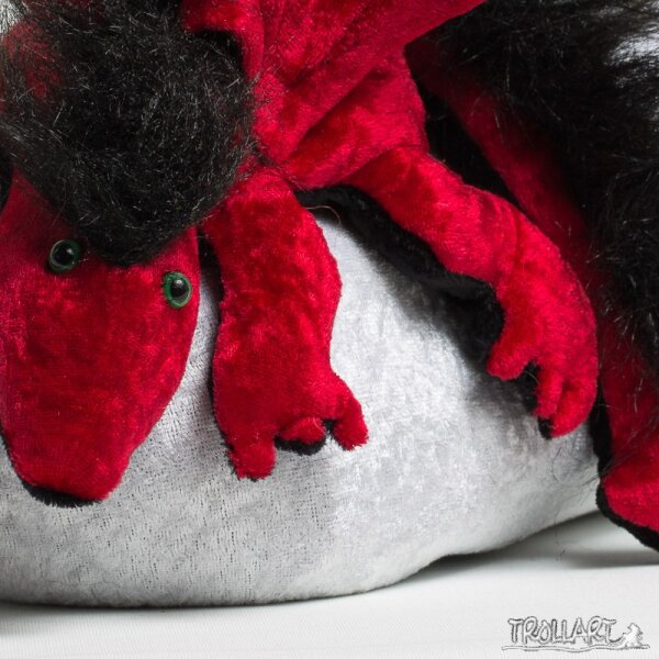 Shoulder dragon L2, dark red, plushy crest