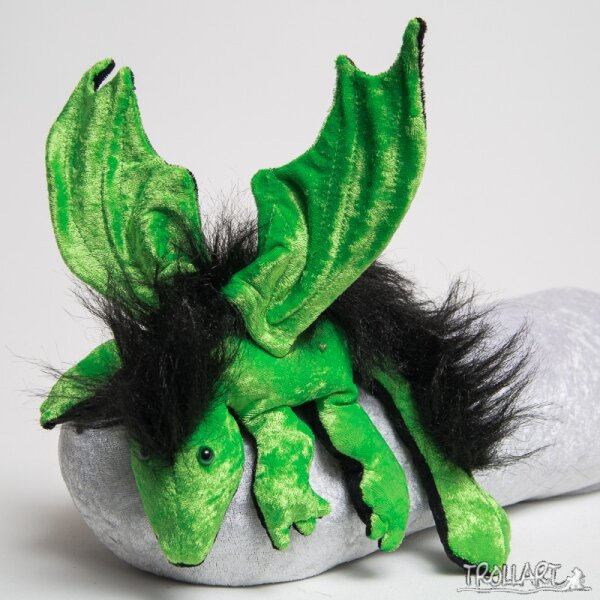Shoulder dragon L2, poison green, plushy crest