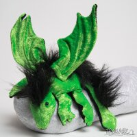 Shoulder dragon L2, poison green, plushy crest