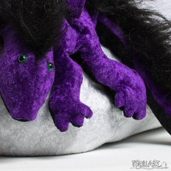 Shoulder dragon L2, violet, plushy crest