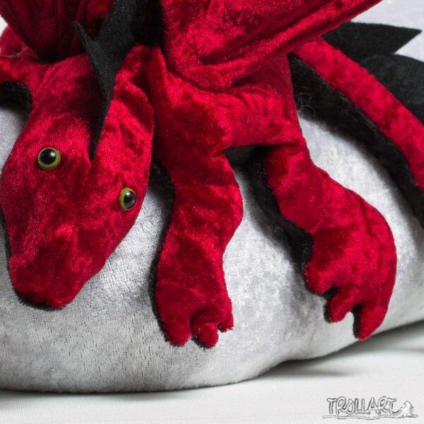 Shoulder dragon L2, dark red, spiky crest