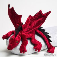 Shoulder dragon L2, dark red, spiky crest