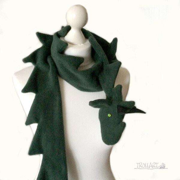 Drachenschal, grün, Fleece