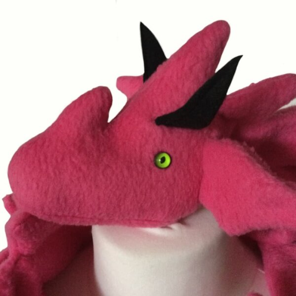 Drachenschal, pink mit grünen Augen