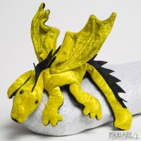 Shoulder dragon L2, bright yellow, spiky crest