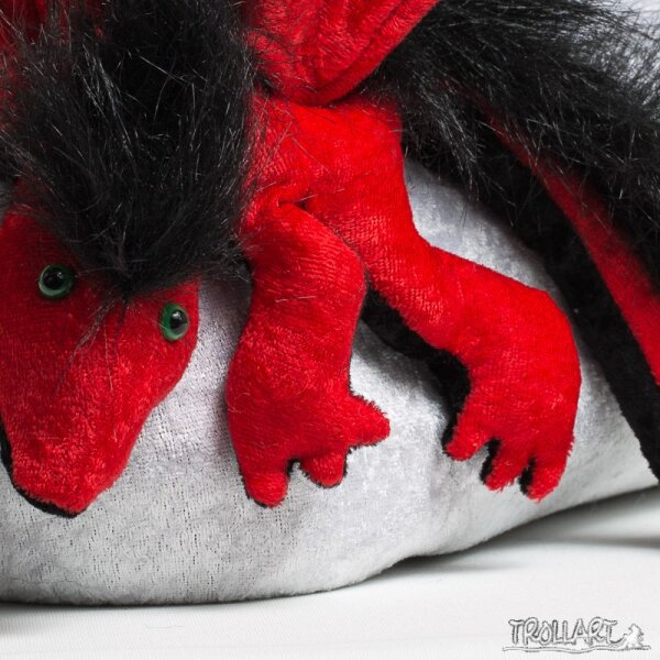 Shoulder dragon L2, red, plushy crest